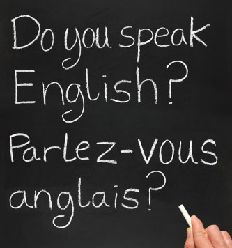 Photo of a French translation on a blackboard